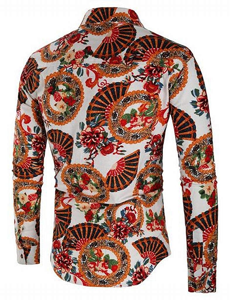 SHOWNO Mens Button Down Long Sleeve Cotton Linen Floral Print Dress Work Shirt