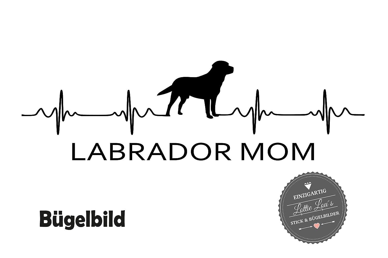 Glitzer B/ügelbild Hund LABRADOR MOM Herzschlag in Flex Flock Effekt in Wunschgr/ö/ße