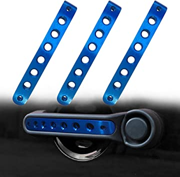 Blue 3pcs Door Aluminum Grab Handle Inserts Cover for Jeep Wrangler JK 2 Door Rubicon Sahara X Sport Accessories Parts 2007-2017