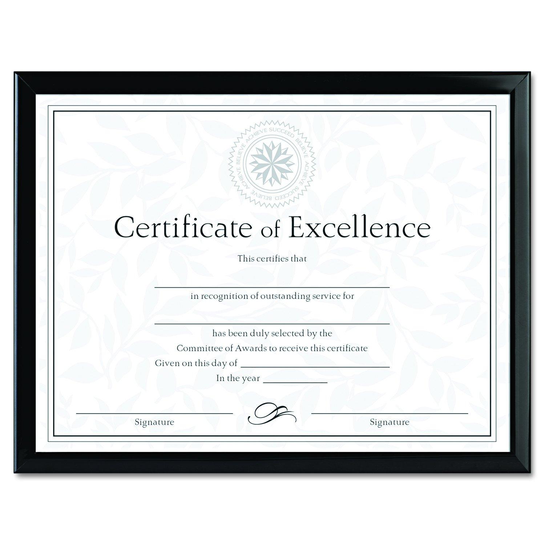 Value U-Channel Document Frame w/Certificates, 8-1/2 x 11, Black Burnes Home Accents N17000N