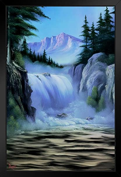Bob Ross Spectacular Waterfall Art Print Painting Framed Poster 14x20 Inch
