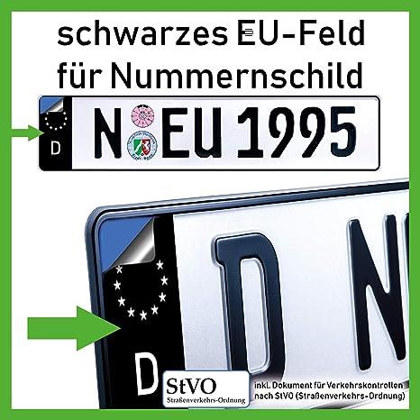 2x Kennzeichen Nummernschild Aufkleber Eu Feld Schwarz Inkl 1x Starter Set