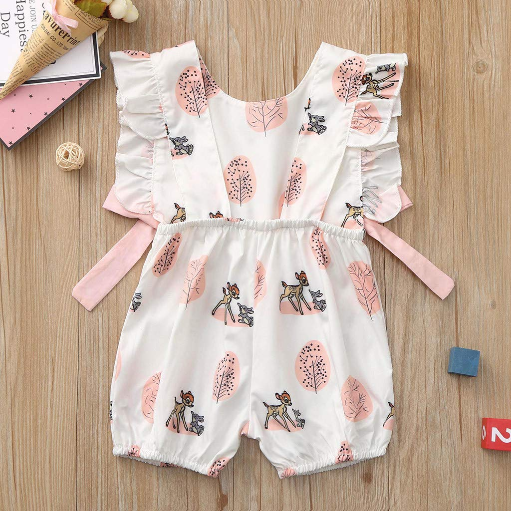 Anxinke Baby Girls One Piece Sleeveless Print Bowknot Ruffles Rompers