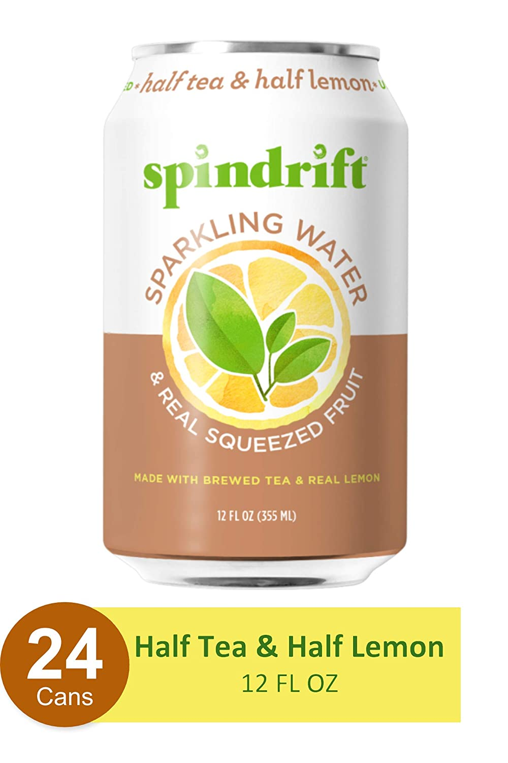 Spindrift Sparkling Water,Half Tea & Half Lemon Flavored, Made with Real Squeezed Fruit, 12 Fl Oz Cans, Pack of 24 (Only 5 Calories per Seltzer Water Can)