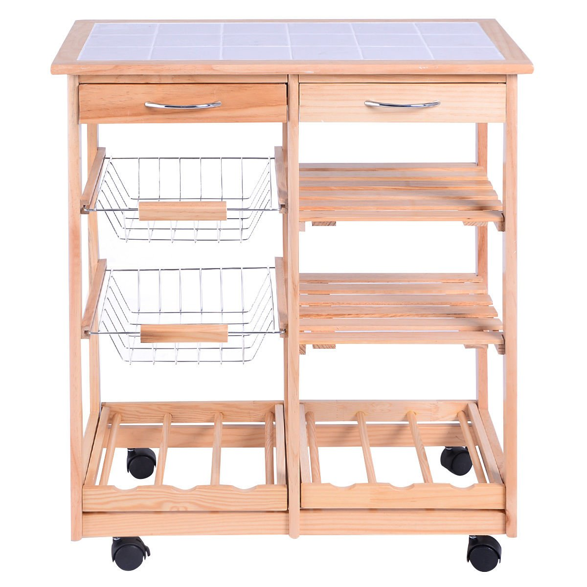 White Bear & Brown Rabbit Rolling Wood Kitchen Trolley Cart Dining Storage Drawers Stand Durable