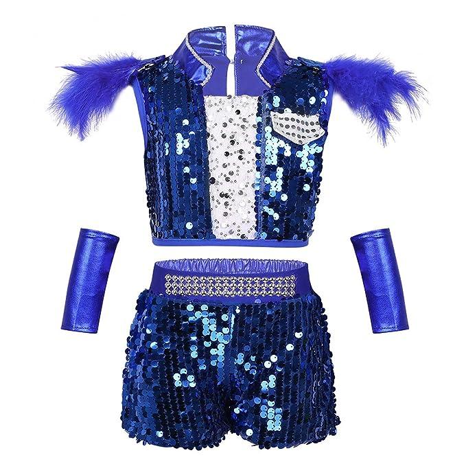 ranrann Conjunto de Danza Jazz Hip Hop para Niño Niña Traje de Actuación Fiesta Día del Niño Lentejuelas Top+Pantalones Cortos de Baile Callejero ...