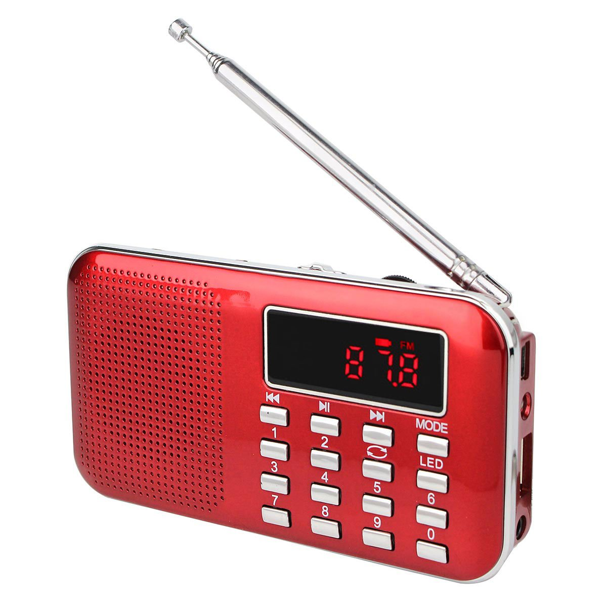 TIVDIO L-218 Portable AM/FM Transistor Radio with Mp3 Music Player Speaker Support Micro IF Card (Red)