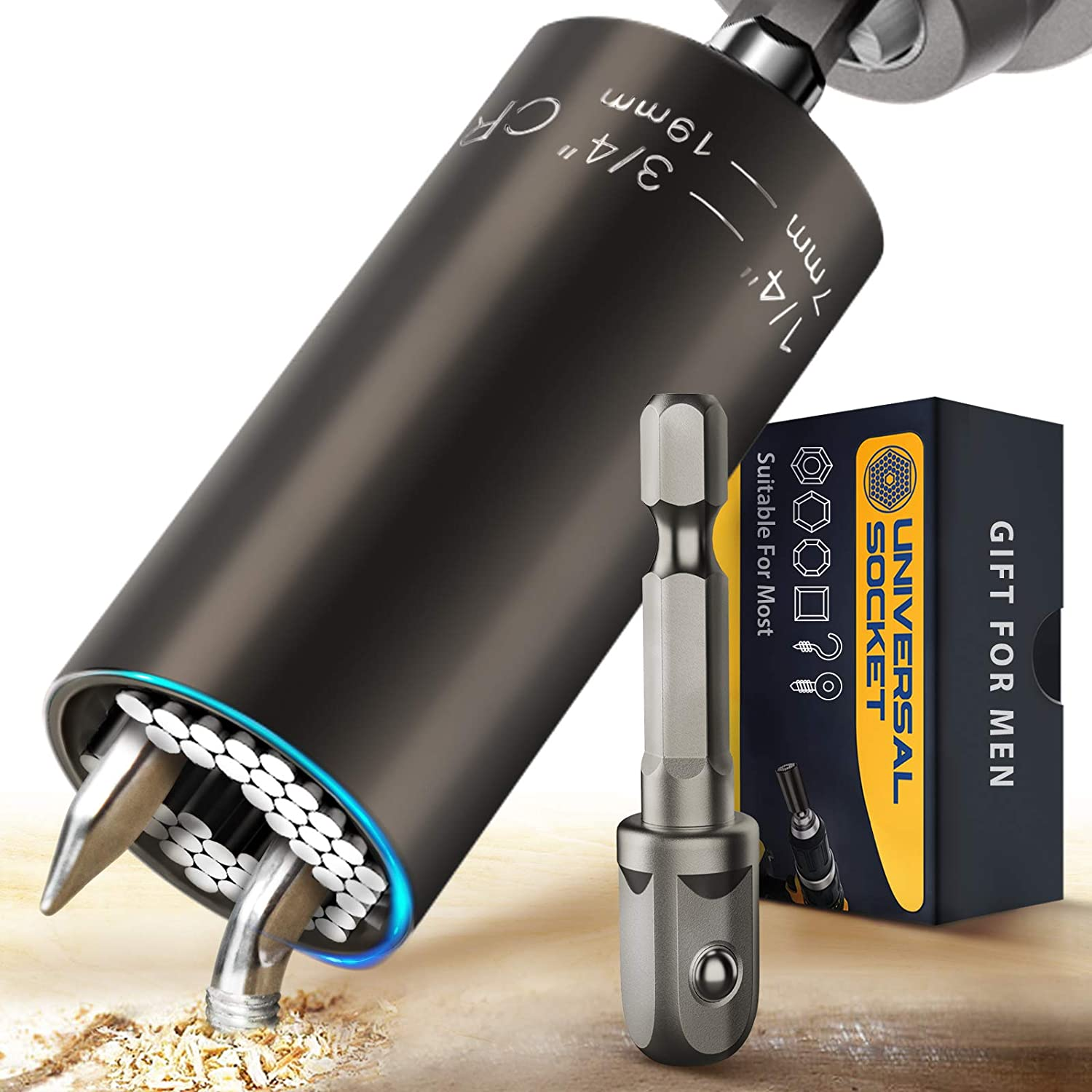 Universal Socket Stocking Stuffers for Men, Super Socket Tools Gifts for Dad/Men/Women, Grip Gadget with Power Drill Adapter Set for 1/4'' - 3/4'', Unique Tool Gift for Husband, Boyfriend on Christmas
