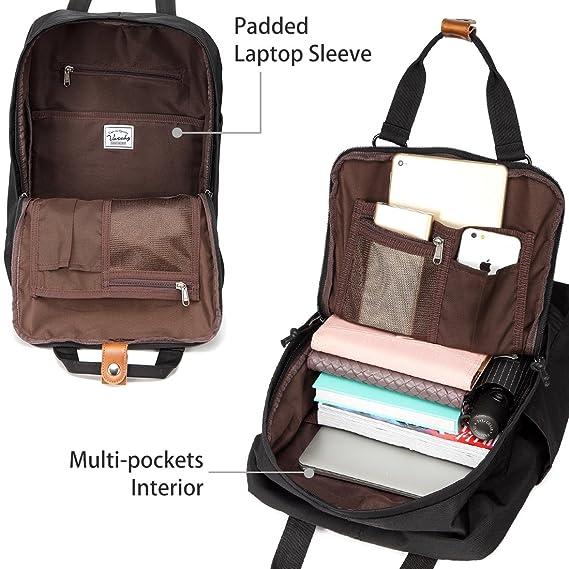Amazon.com: School Backpack,VASCHY Unisex Vintage Water Resistant 15in Laptop Backpack Bookbag for College Black: VaschyDirect