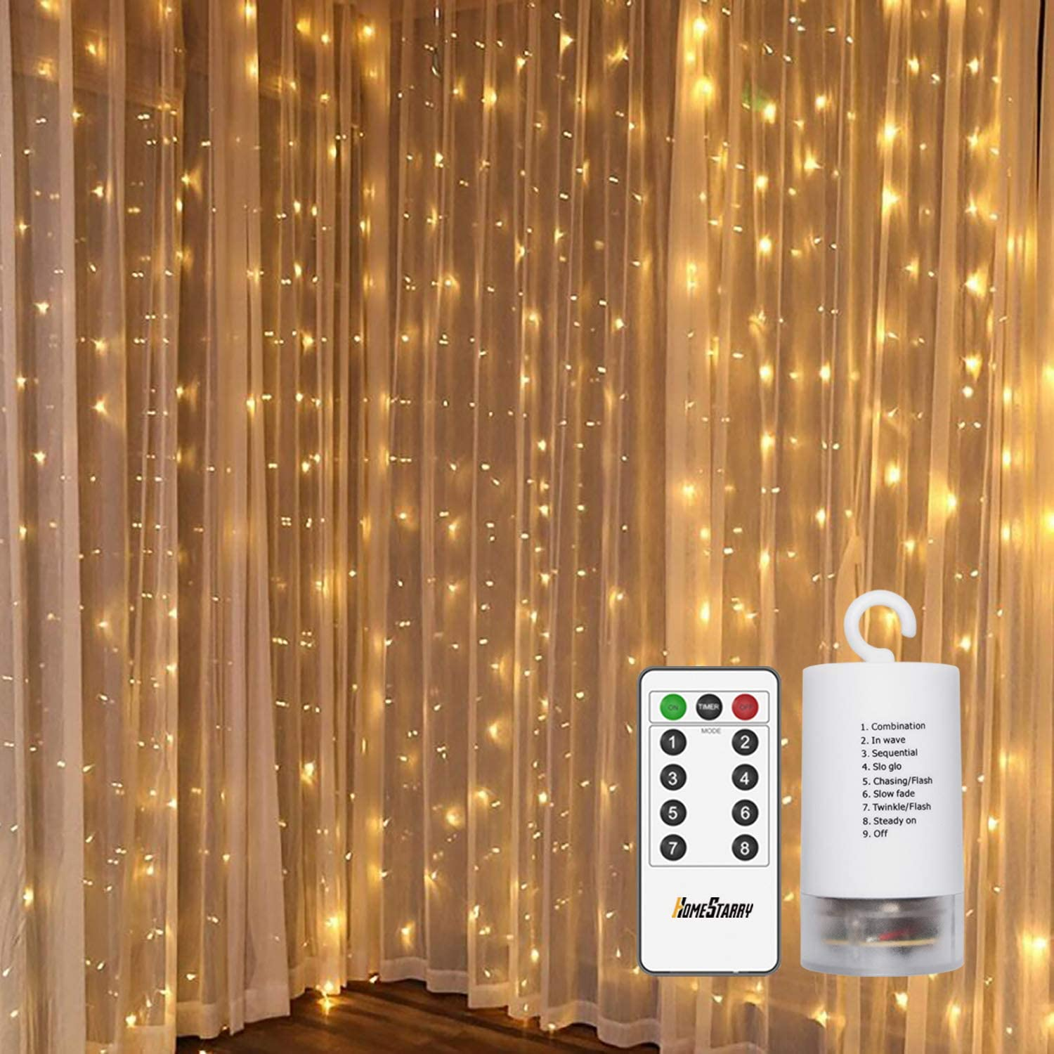 300 LEDs Fairy Lights, Window Curtain String Lights Led Lights for Bedroom,Battery Powered 8 Lighting Modes and Remote for Wedding Party Home Garden Outdoor Indoor Wall Decorations, Warm White