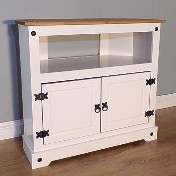 buy popular aaf4e b85ea Mercers Furniture Trade Corona White Painted Corner TV Unit Light Fiesta Wax