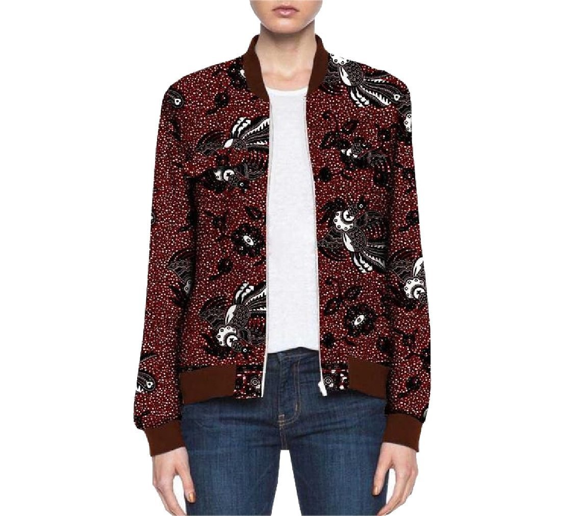 YUNY Women Zipper Africa Dashiki Coat Cotton Retro Batik Baseball Jacket 14 XS
