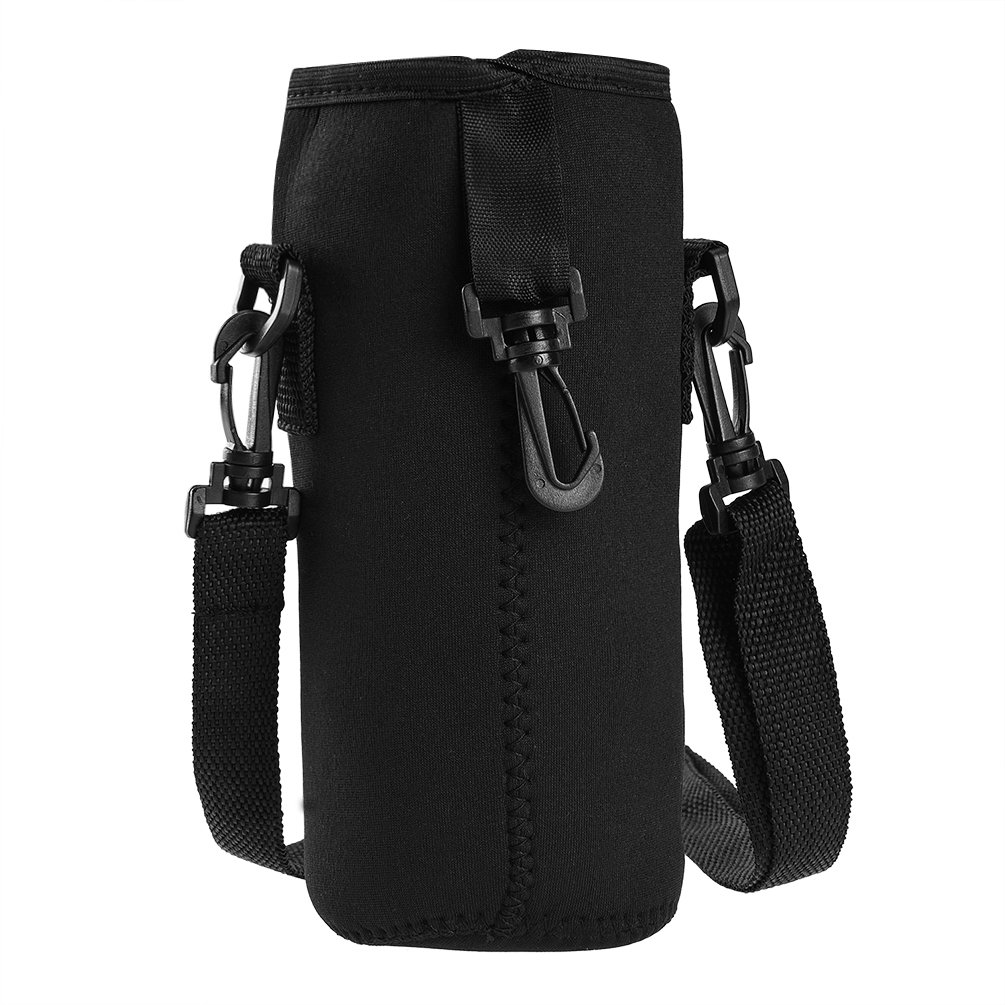 RUNACC Water Bottle Carrier Insulated Bottle Holder Portable Sports Bottle Sleeve with Detachable Shoulder Strap, Fits 1000ml Water Bottle and 750ml Vacuum Cup, Black
