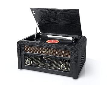Muse MT-115 W Negro, Oro - Tocadiscos (Negro, Oro, 33,45,78 RPM, Giratorio, FM, CD,CD-R,CD-RW, J-shaped tonearm)