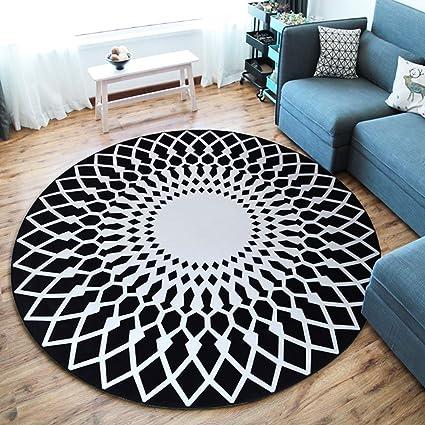 Leoie Modern Simple Round Carpet Rug Door Mat Living Room Bedroom Anti-Slip Floor Rug Mat Home Decoration 03 80CM Diameter