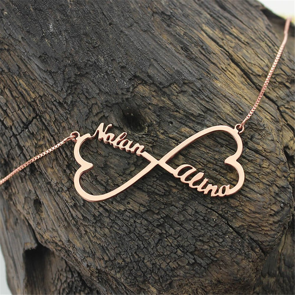 set adil Custom heart unlimited name necklace fashion private custom necklace birthday gift