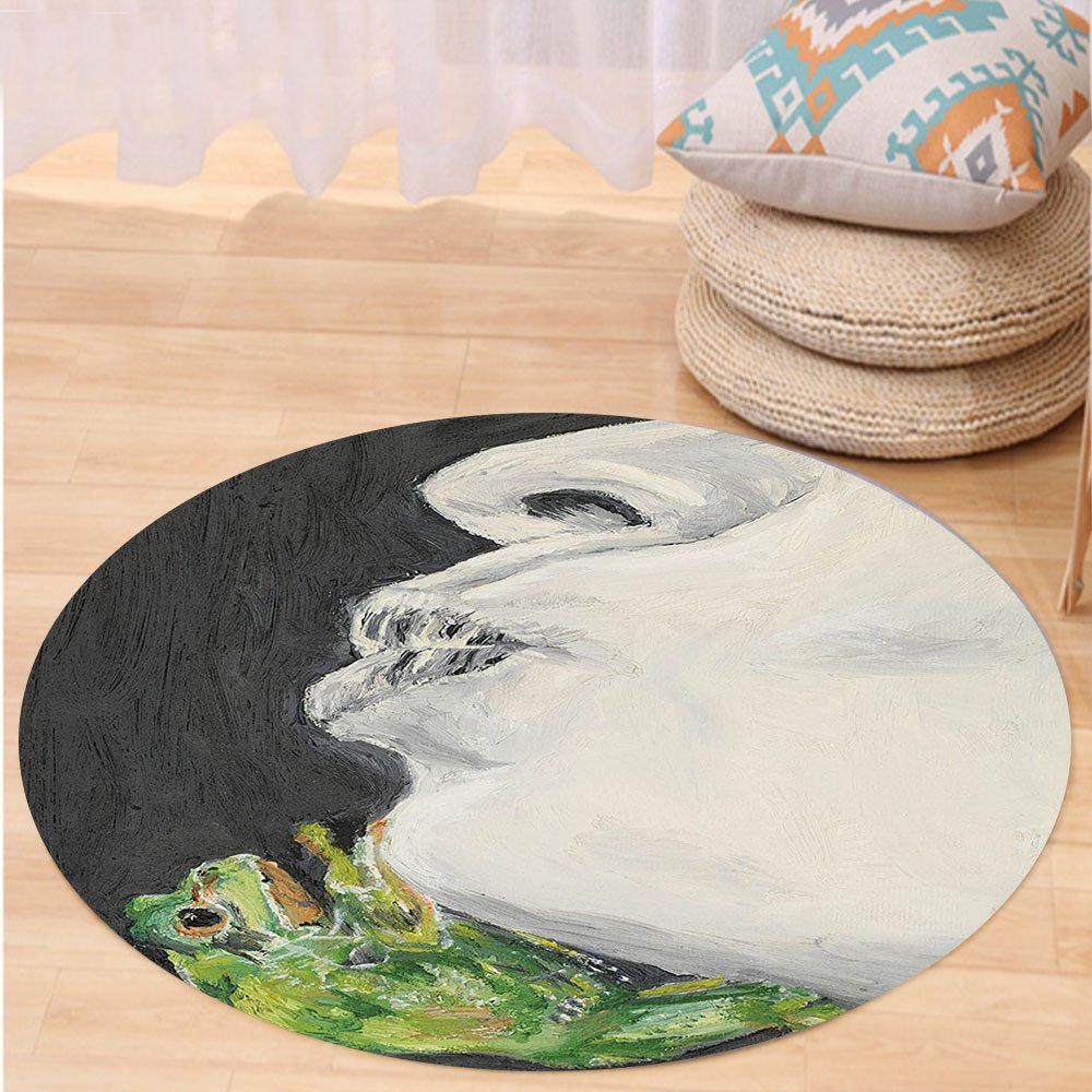 VROSELV Custom carpetCountry Decor Collection Mod Drawing of a Lady Kissing the Frog Prince Soul Mates Love Animal Chic Art Bedroom Living Room Dorm Grey Green Black Round 79 inches