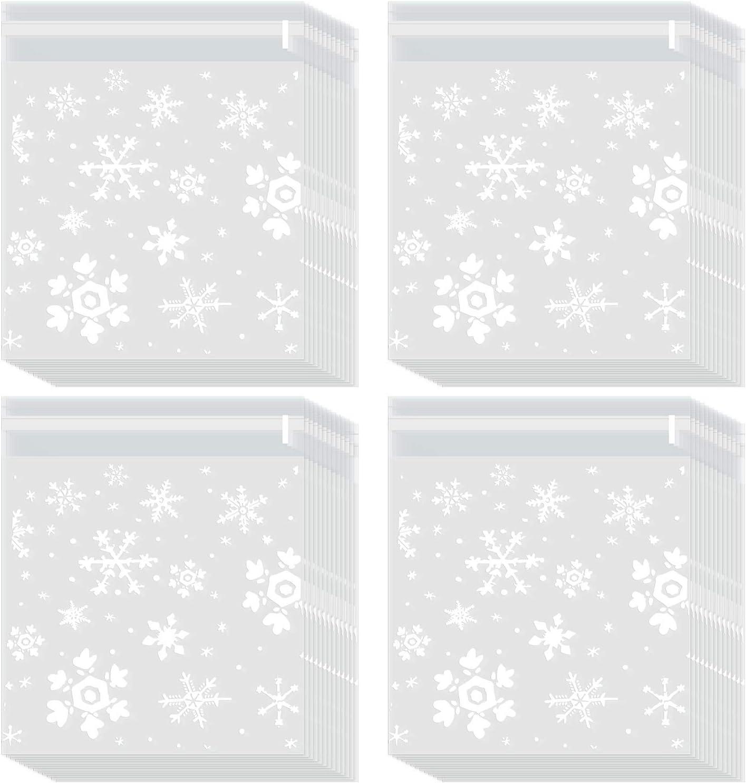 200 Piezas de Bolsa de Galletas de Navidad Bolsas de Celof/án de Dulces Bolsa de Regalos de Copo de Nieve Transparente con Sellado Autoadhesivo 5,5 por 5,5 Pulgadas
