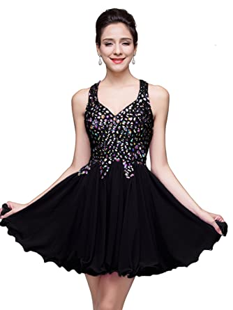 Babyonline Short Crystal Homecoming Dresses Juniors Black Chiffon Prom Dress