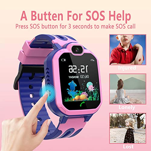 Kids Smart Watch Waterproof, GPS LBS Tracker SOS Call Smartwatch Phone for Kids 3-12 Year Old Boys Girls with Two-Way Call Touch Screen Voice Chat Game Flashlight for Birthday Christmas Pink