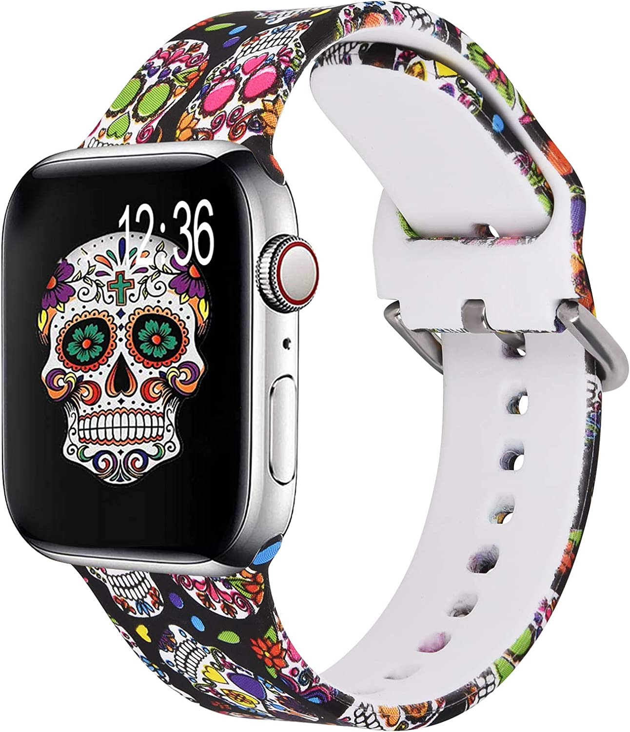KOREDA Compatible with Apple Watch Band 40mm 38mm, Fadeless Pattern Printed Floral Bands Silicone Replacement Band for iWatch SE & Series 6 & Series 5/4/3/2/1 for Women Men (Colorful Skull)