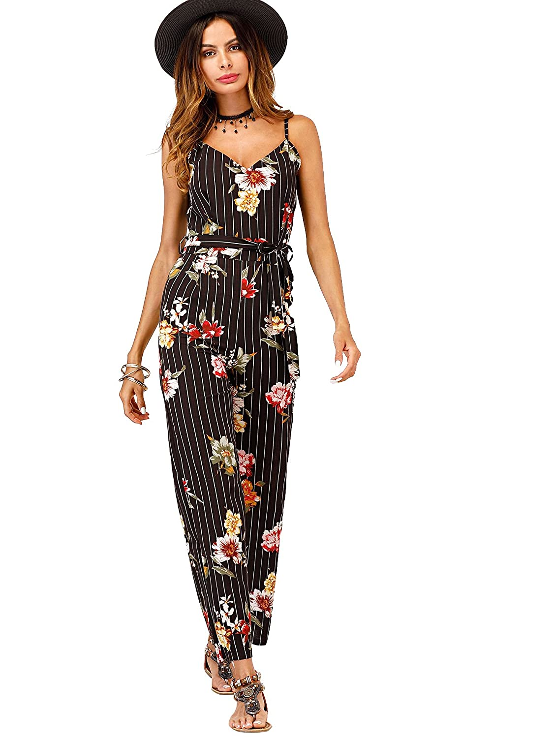 b86099774e33 Amazon.com  Romwe Women s Allover Floral Flower Graphic Striped Mixed Print Sleeveless  Self Tie Waist Long Wide Leg Jumpsuit  Clothing