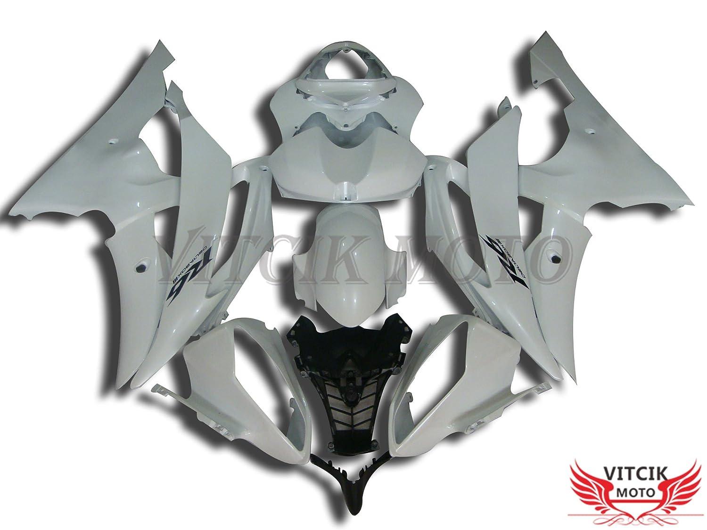 VITCIK (フェアリングキット 対応車種 ヤマハ Yamaha YZF-600 R6 2008 2009 2010 2011 2012 2013 2014 2015 YZF 600 R6) プラスチックABS射出成型 完全なオートバイ車体 アフターマーケット車体フレーム 外装パーツセット(ホワイト) A017   B073SBRGVY