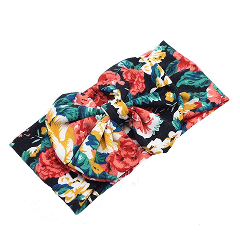 Bodhi2000 Baby Kids Flower Printed Headband Big Bow Cloth Hair Band Headwear