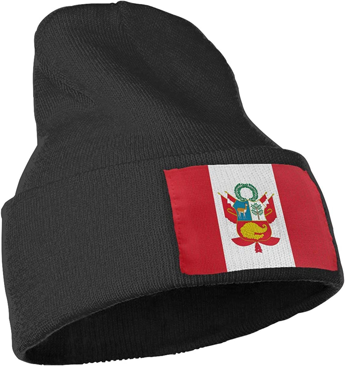 QZqDQ Peru Flag Unisex Fashion Knitted Hat Luxury Hip-Hop Cap