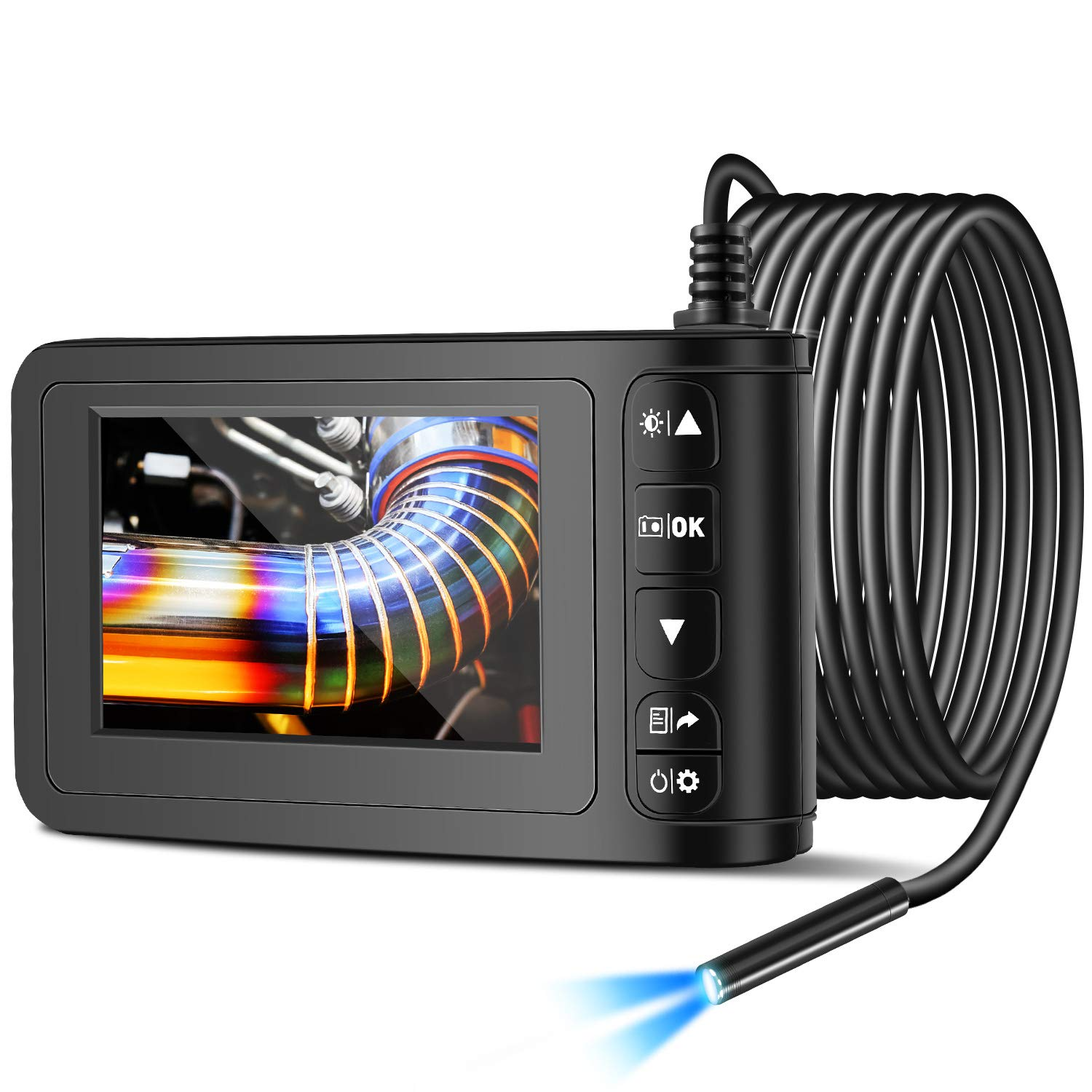 Industrial Endoscope with 4.3 inch LCD Color Screen 2MP Snake Camera 8mm Borescope Camera HD 1080P Sewer Camera Waterproof Inspection Cameras with 6 Adjustable LED Lights (5m/16.4ft)