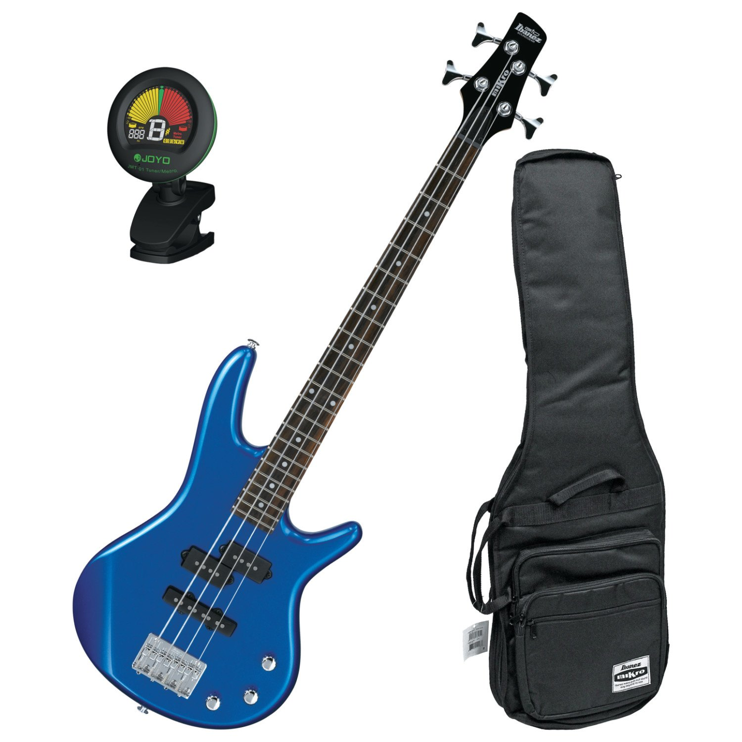 Ibanez GIO GSRM20SLB Mikro Starlight Blue 28.6 Scale 4 String Bass Guitar w/ Gig Bag and Tuner! GSRM20SLB BUNDLE