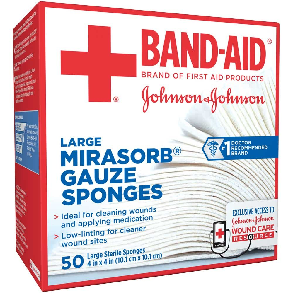 Johnson and Johnson First Aid 4 in. x 4 in. Mirasorb Gauze Sponges 50 ct Box -- 18 per case. by Johnson & Johnson