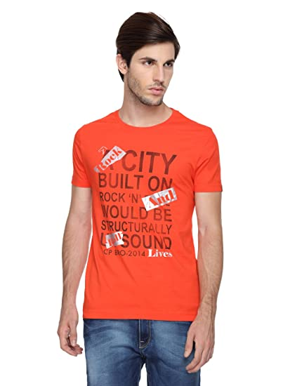 54a2b25fbc67e CP BRO Half Sleeves 100% Cotton Round Neck T Shirt for Men Orange ...