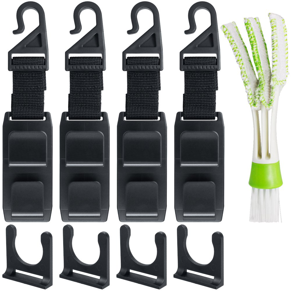 SENHAI 4 Packs Car Headrest Hooks with Duster for Car Air Vent, Universal Seat Back Hangers Organizers with Bonus Brush