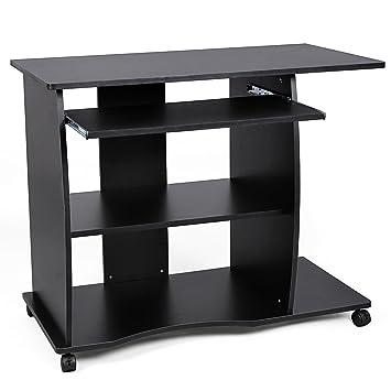 VASAGLE Mesa de Ordenador con Portateclado, 4 Ruedas, Escritorio de la Computadora, Escritorio para Hogar u Oficina, 90 x 50 x 75 cm, Negro LCD751B: ...