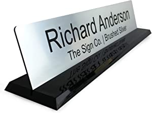 Personalized Office Name Plate Desk Sign with Molded Base in Black - 2x10 - Customize