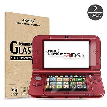 [2 Sets] Protector de Pantalla para New Nintendo 3DS XL Akwox [9H Dureza] Cristal Vidrio Templado para Nintendo 3DS XL Cristal Templado