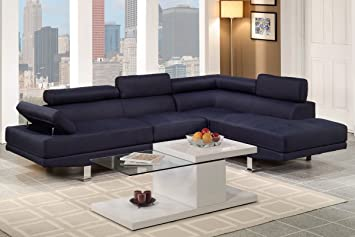 Nice Poundex Navy Blue Linen Fabric Modern Sectional Sofa