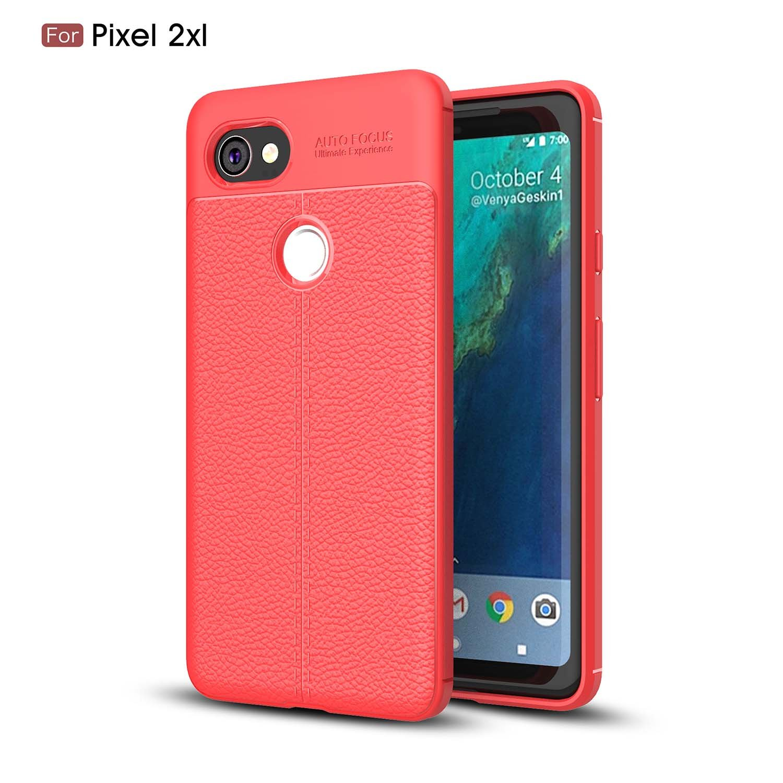 Shinyzone Durable TPU Back Case for Google Pixel 2 XL, Premium Slim Thin [Navy Blue] Litchi Texture Pattern Non Slip Matte Excellent Grip Soft Case for Google Pixel 2 XL