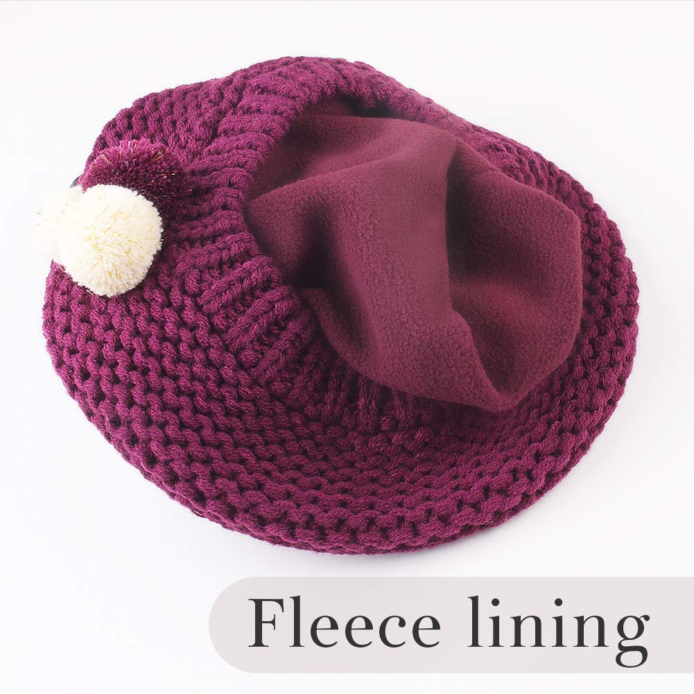 Aged 2-8 Girls Winter Hat Scarf Kids Toddler Artist French Beret Knitted Beanie Christmas