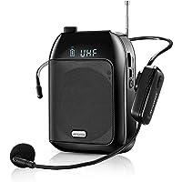 Amplificador de Voz, Sistema de PA Recargable de 15 Vatios (2400 mAh) con UHF Micrófono para Profesores, Guía Turístico…