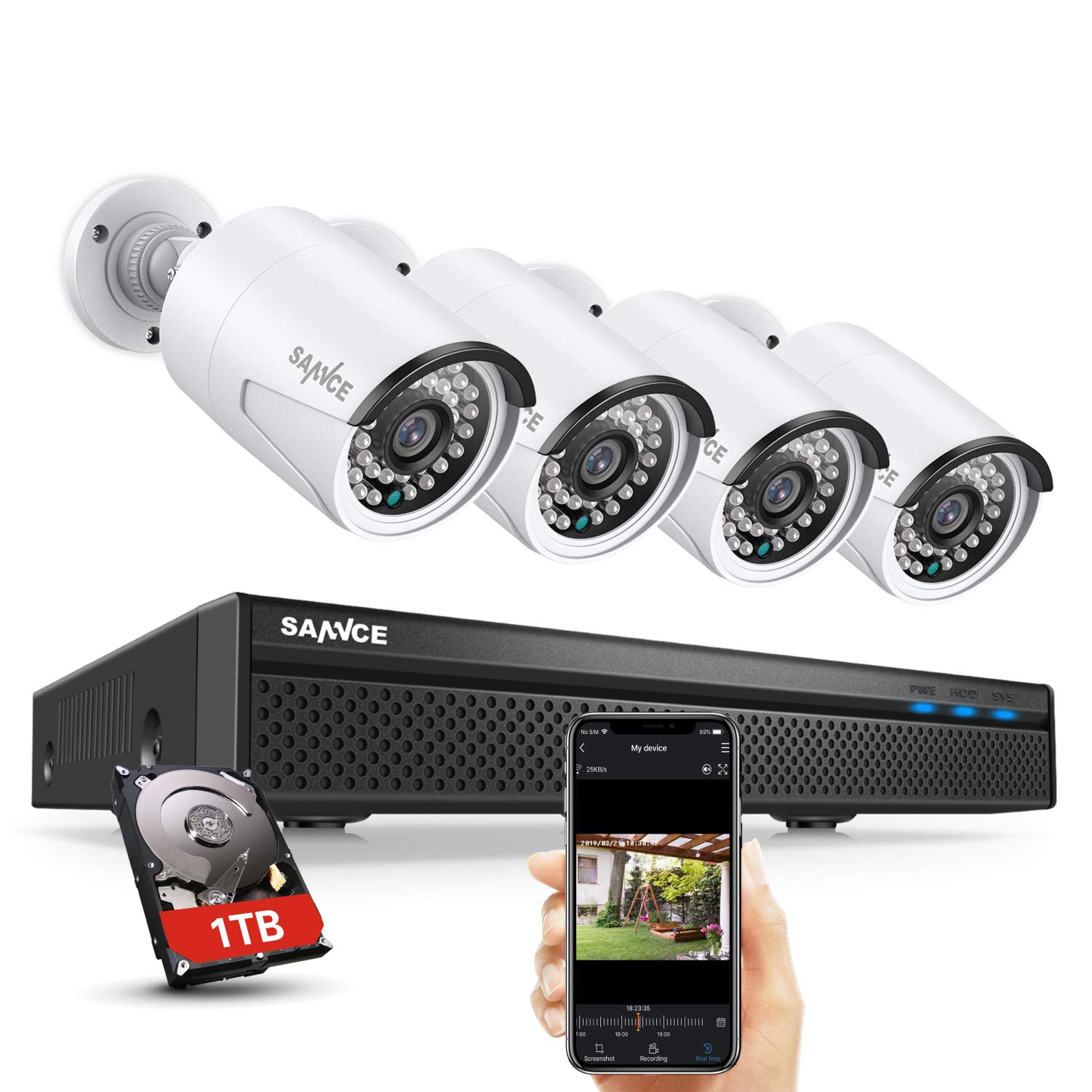 Expandable 5MP 8CH True POE Security Camera System 4x2MP Surveillance Indoor Outdoor Cameras,Built-in Microphone,100FT Night Vision for 7/24 Recording,H.264+ to Save Storage,1 TB Hard Drive Included by SANNCE