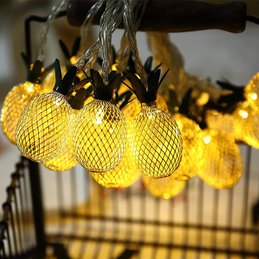 Twinkle Star 20 LED 10ft Pineapple String Lights Warm White,Battery Operated String Lights Metal Mesh Decorative for Indoor Bedroom Wedding Party Christmas