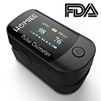 Pulse Oximeter Fingertip, HOMIEE Blood Oxygen Saturation Monitor SpO2 Oximeter with Alarm, Auto-Sleep Function, 4 Directions OLED Display, Silicone Cover, Carrying Bag, Batteries & Lanyard(Black)
