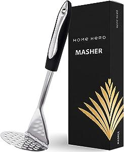 Potato Masher Stainless Steel - Food Masher Utensil Hand Masher - Mashed Potatoes Masher Avocado Masher - Bean Masher Stainless Steel Potato Masher Potato Smasher Vegetable Masher