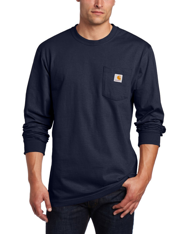 Carhartt メンズ 作業服 ミッドウェイトジャージ ポケット 長袖Tシャツ K126 B0001YSBC4 S ネイビー ネイビー S