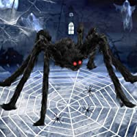 6.6FT Giant Spider Halloween Decorations with 16ft Huge Spider Web, 200sqft Stretchy Spider Cobweb and 20pcs Small…