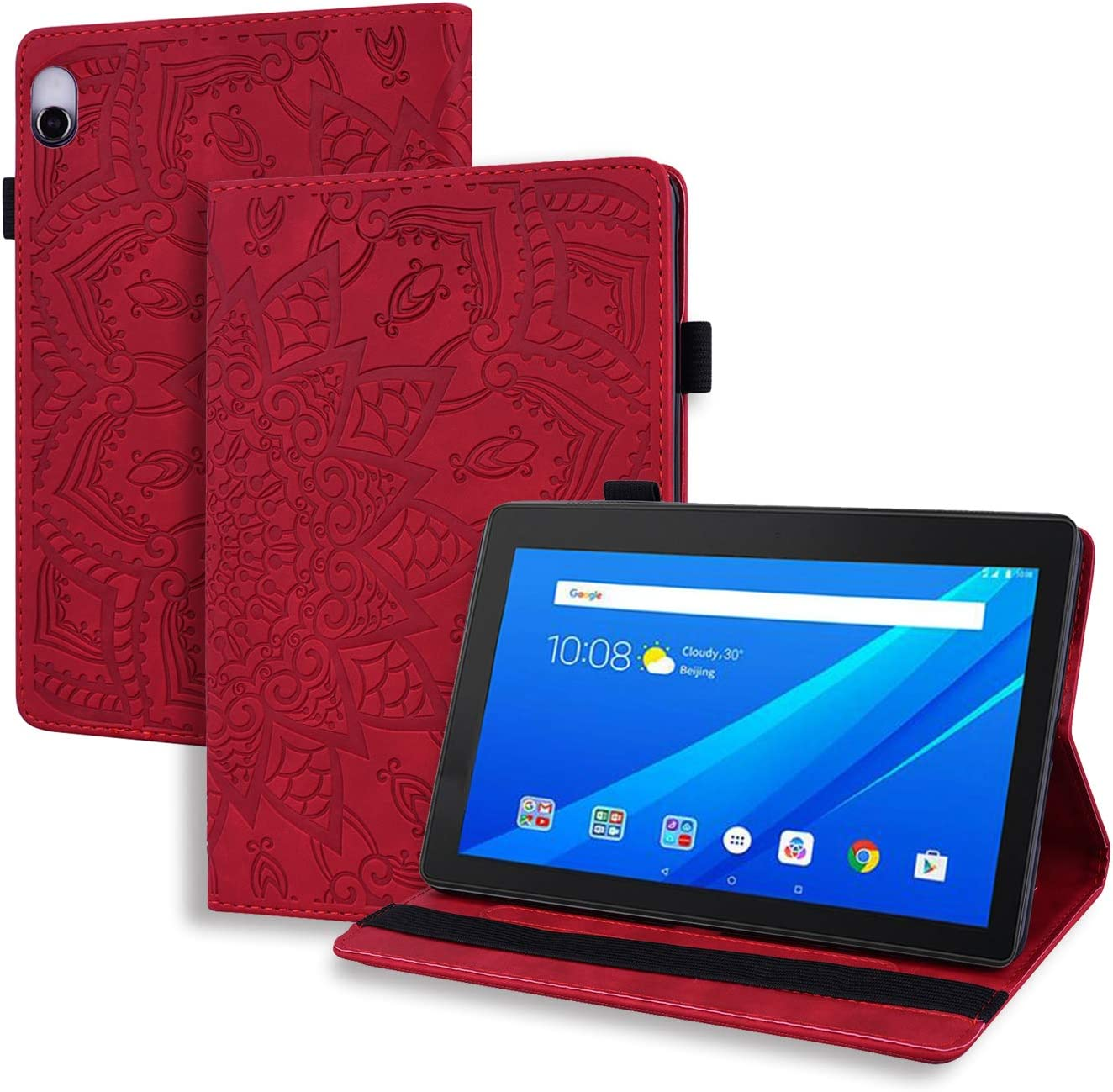 USTY Case for Lenovo Tab M10 10.1 - Slim Folio Stand Flower Premium PU Leather Cover with Strap/Card Holders for Lenovo Tab M10 10.1 Inch Android Tablet (TB-X605F / TB-X505F), Red