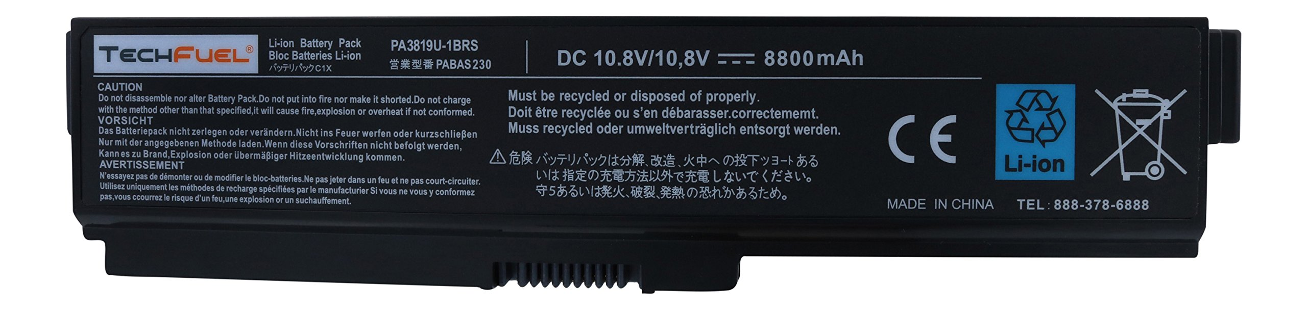 TechFuel Battery for Toshiba Satellite P775-S7215 - Professional Super Capacity Performance Laptop Battery (12-cell/ 8800mAh/95Wh)