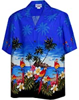 Pacific Legend Men's Parrots Beach Border Hawaiian Shirt